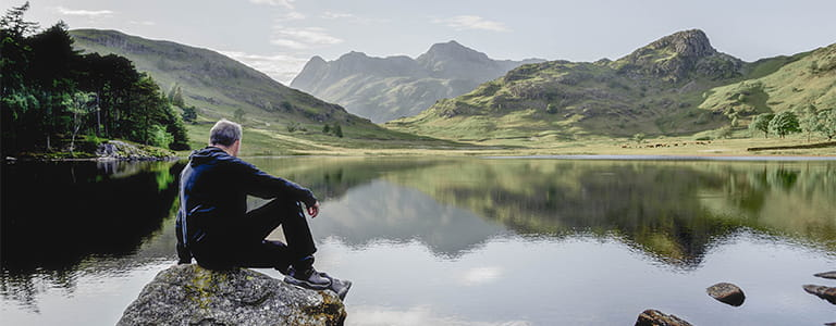 Man looking over lake in the the lake district