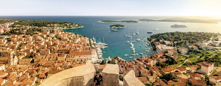 View over looking the sea side town of Hvar in Croatia