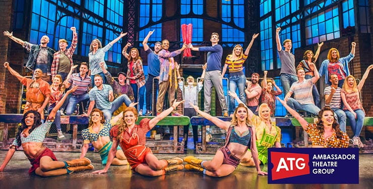 The cast of Kinky Boots, London. Photo by Darren Bell