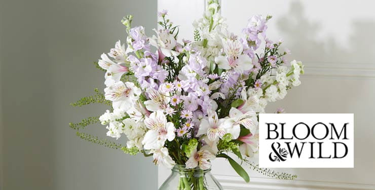 Bouquet with Bloom & Wild logo on it