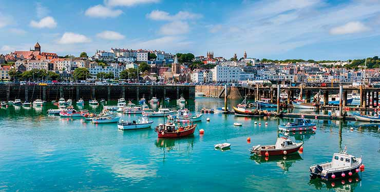 Harbor and Skyline of Saint Peter Port, Guernsey, Channel Islands, UK