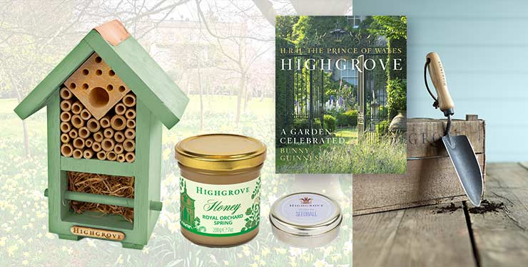 Bug and bee house, spring honey, seedballs, hand trowel and book from the Highgrove Wildlife Hamper