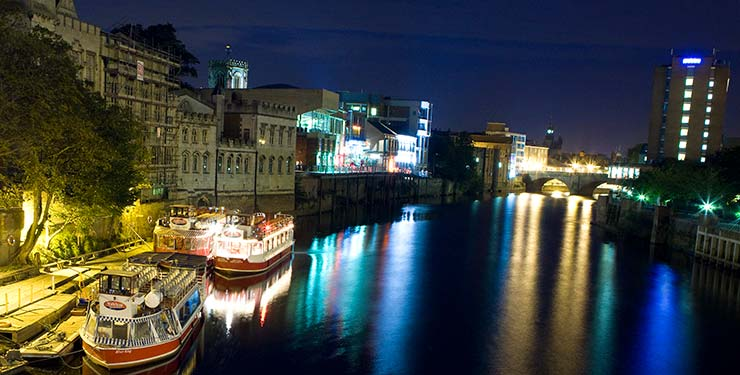 Floodlit city cruise in York