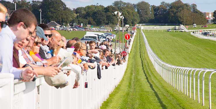 Epsom Downs Racecourse spectators by the race track