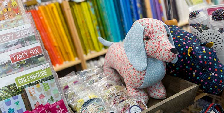 Knitting and Stitching Show - a fabric dog on display