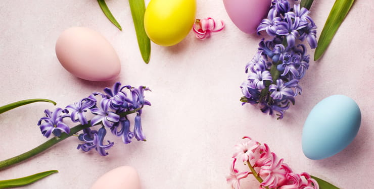 Spring hyacinths and painted Easter eggs