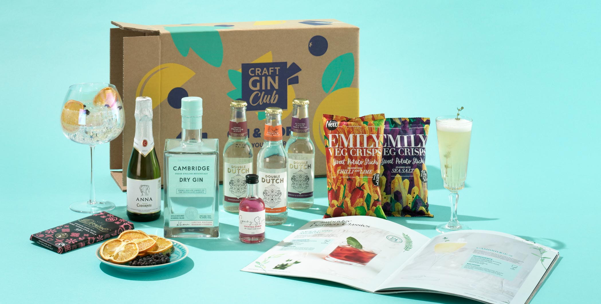 Craft Gin Club box with gin, mixers and snacks