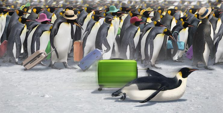 One penguin with a suitcase glides past a crowd of queueing penguins