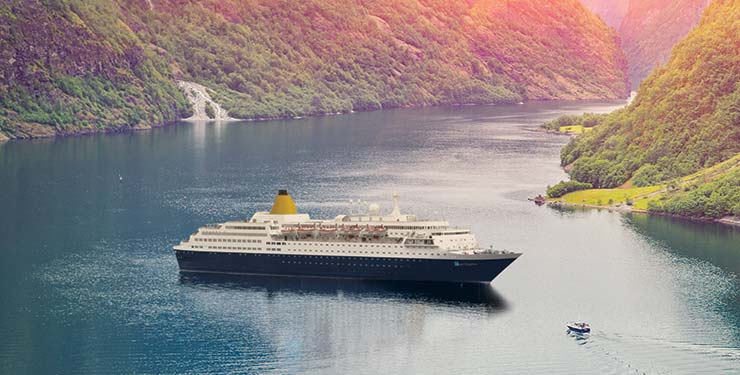 Saga Sapphire by the Norwegian fjords