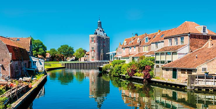 Buildings on a canal in Enkhuizen, Netherlands