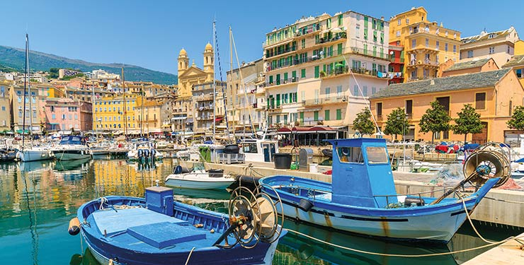 Traditional fishing boats in Bastia port, Corsica