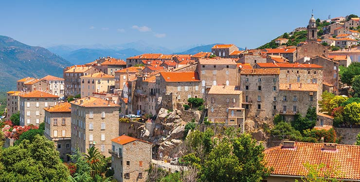 Ancient town landscape in Sartene, South Corsica