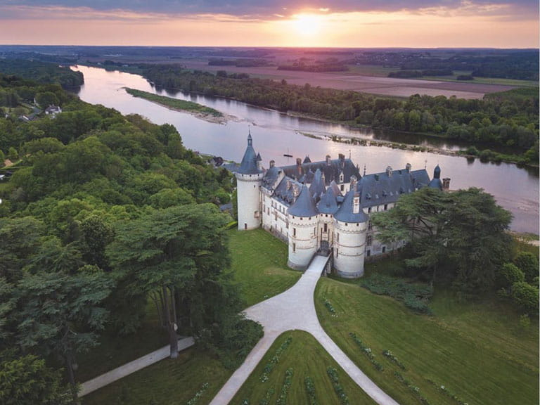 An image of the Chateau of Chaumont-sur-Loire taken from the air