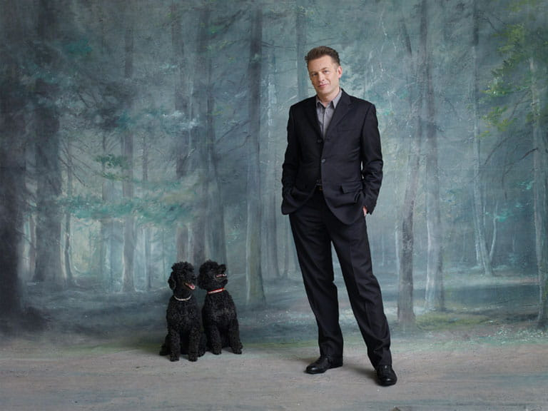 Chris Packham with his dogs, Itchy and Scratchy. Photograph by Dan Burn-Forti