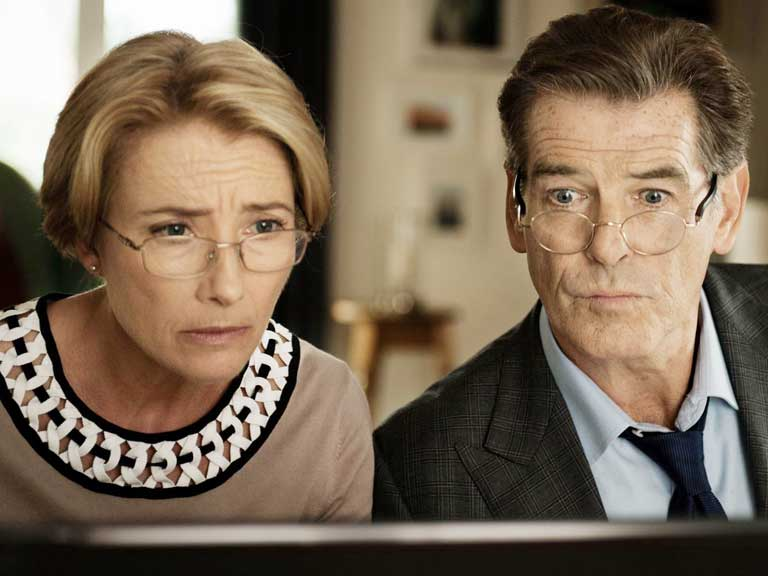 Still image from the movie Love Punch with Emma Thompson and Pierce Brosnan