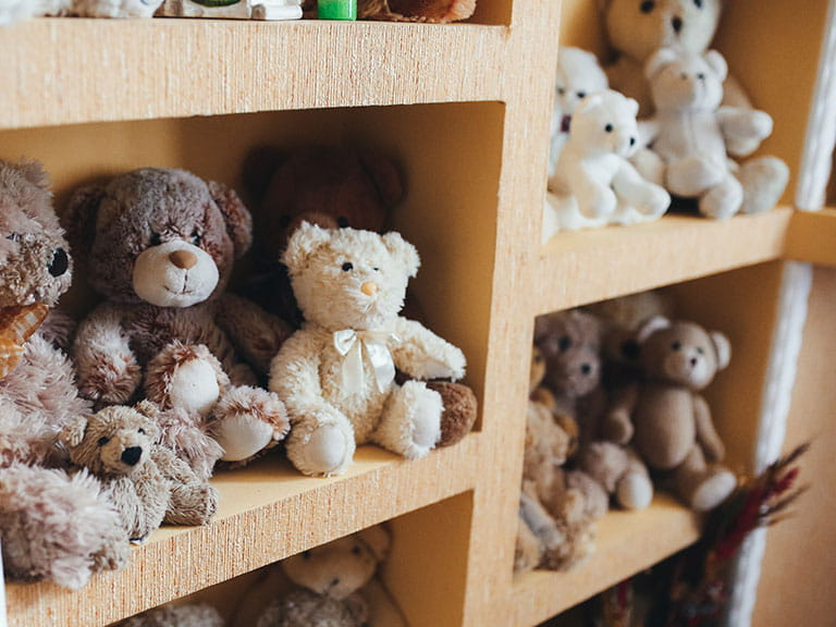A collection of teddy bears to represent the collection of Gyles Brandeth