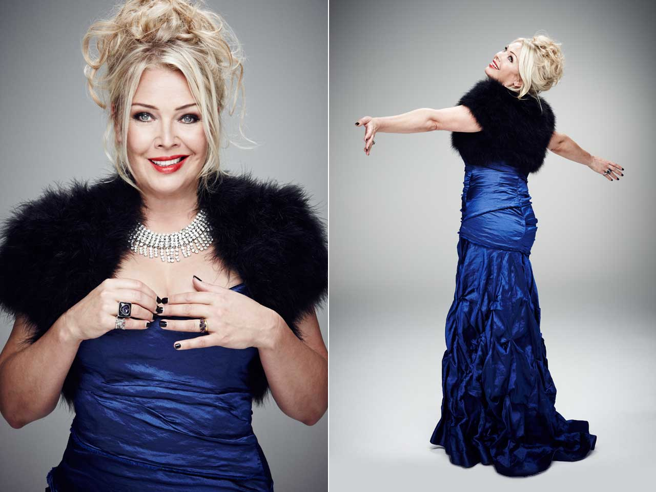 Kim Wilde poses in an elaborate blue dress