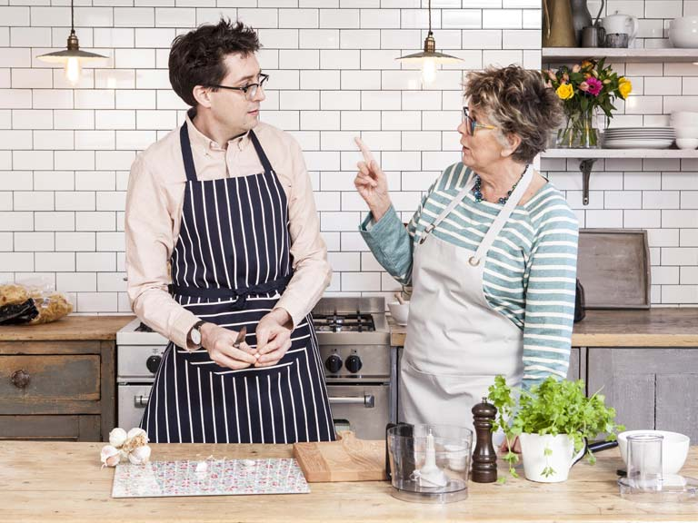 Prue Leith talks to her nephew, Sam Leith, in the kitchen