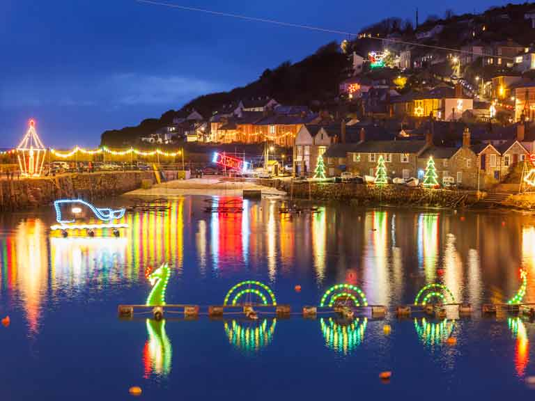The Christmas lights in Mousehole, Cornwall © Ian Woolcock/Shutterstock