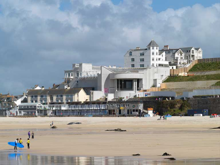 A view of Tate Saint Ives Gallery and St Ives beach