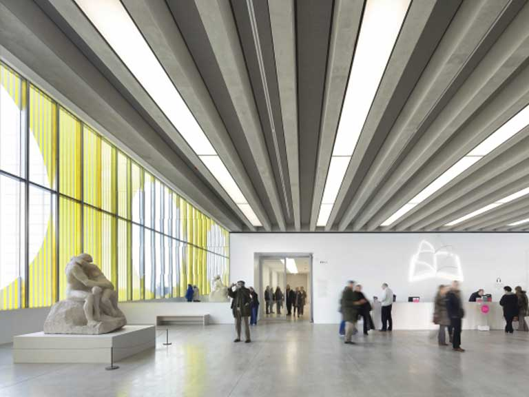 Inside the large entrance hall of the Turner Contemporary Gallery
