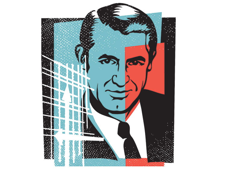 An illustration of Hollywood star Cary Grant
