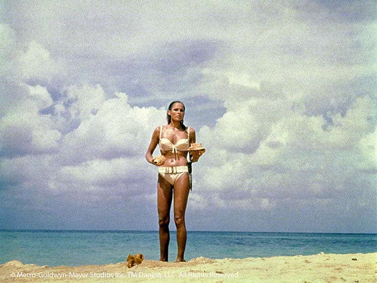 Ursula Andress in her famous white bikini in Dr No