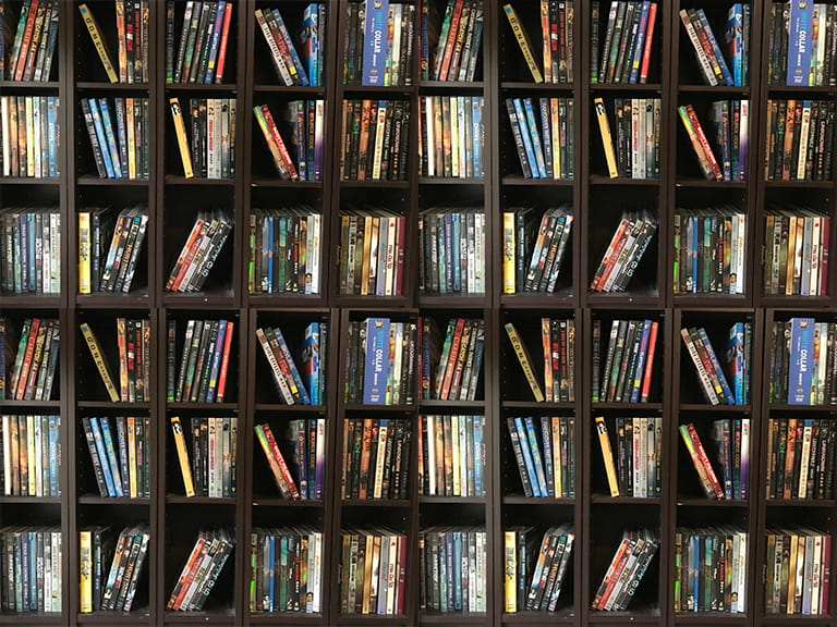 A DVD library crammed with DVD boxsets