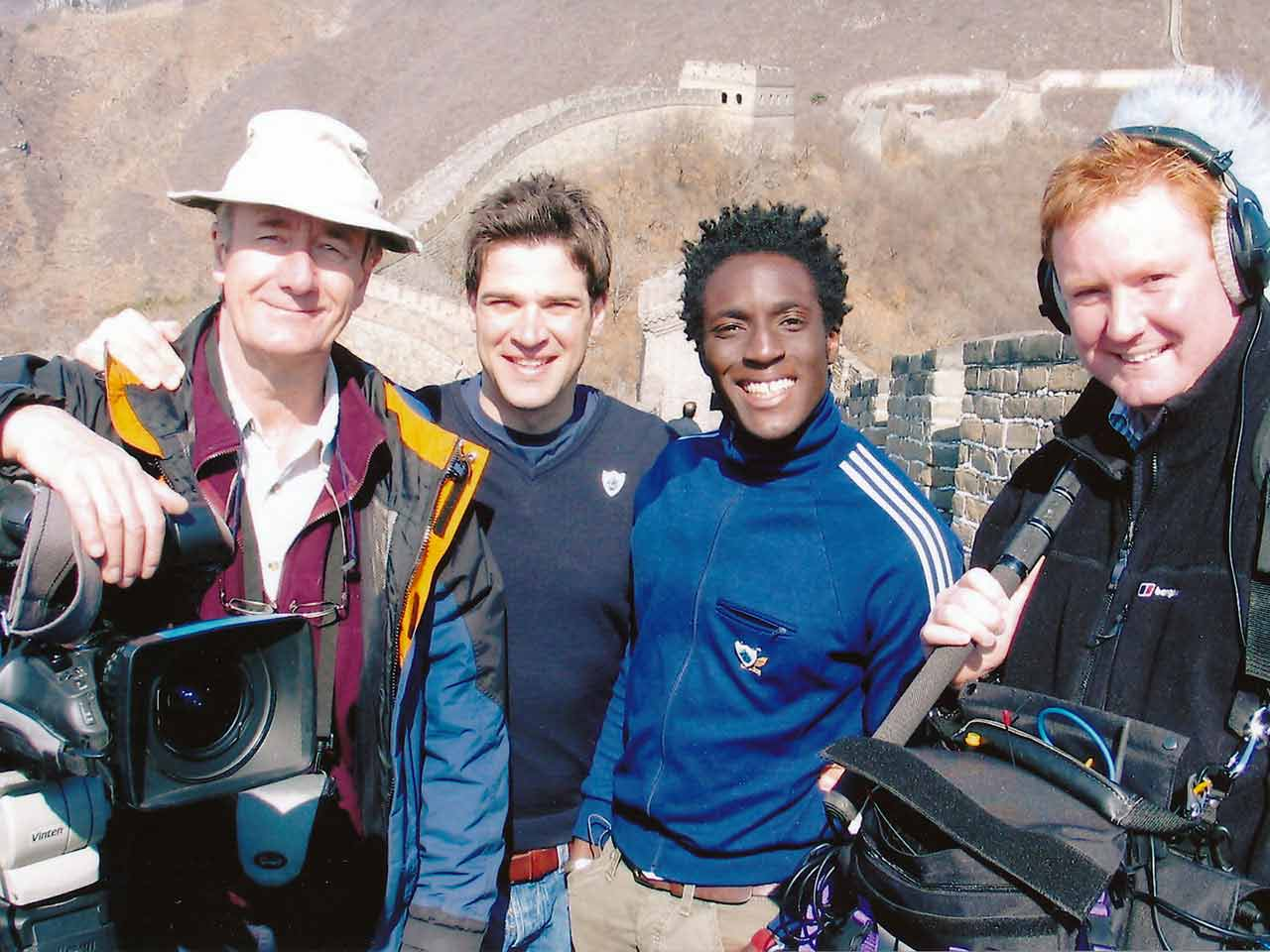 ALex Leger with the Blue Peter team on the Great Wall of China