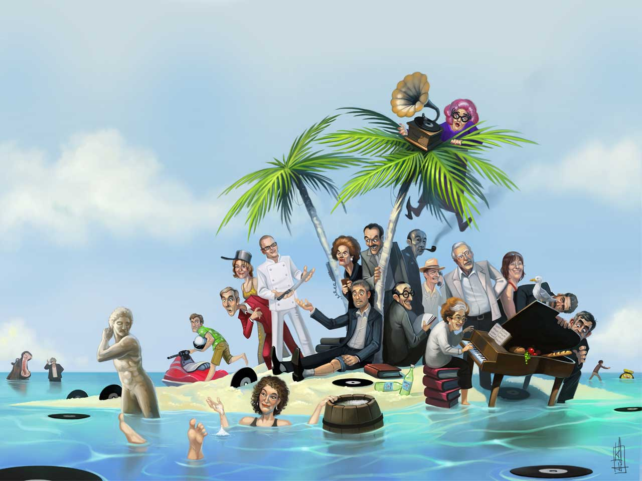 Various celebrities illustrated, marooned on a desert island