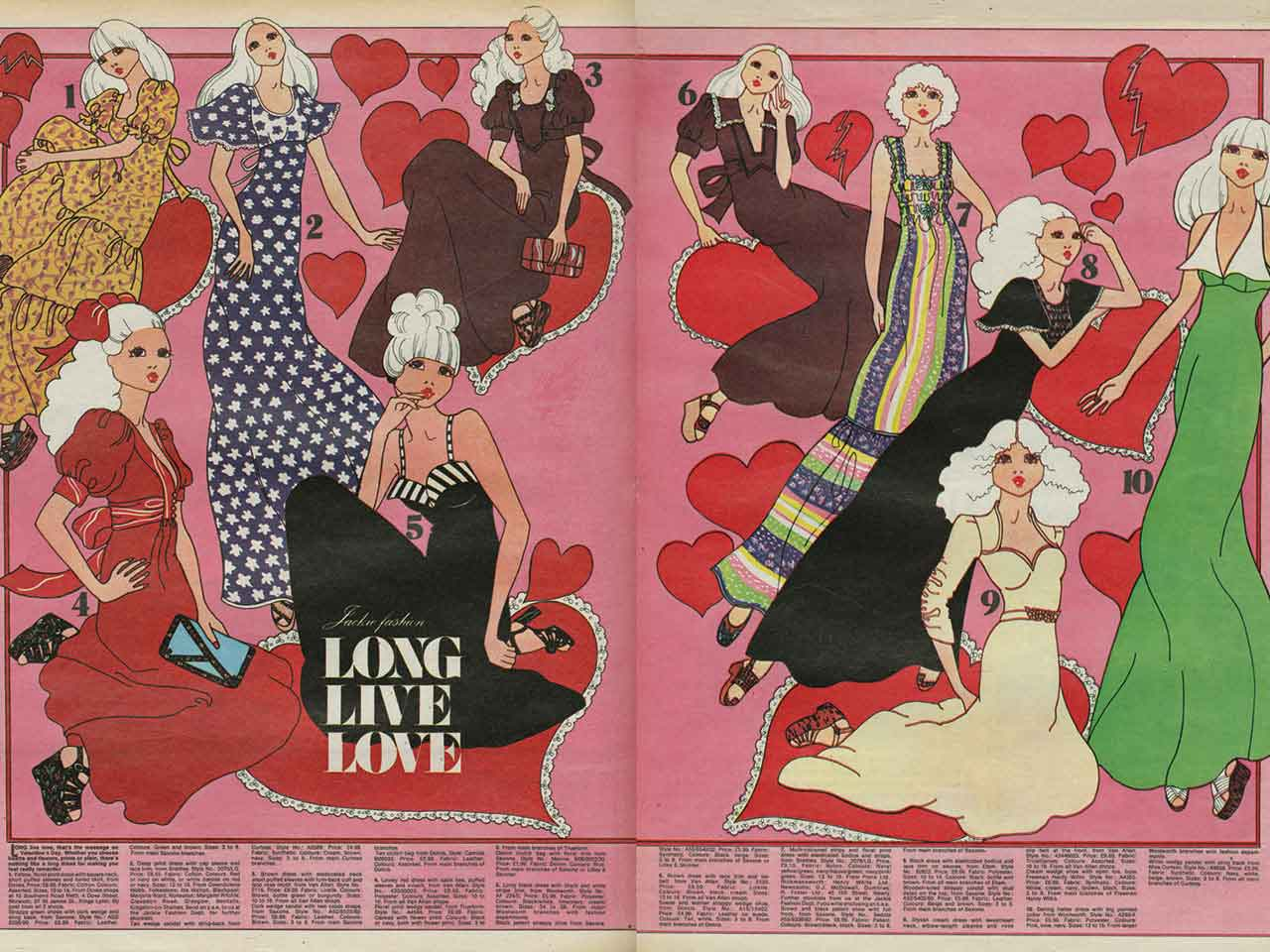 Double page magazine spread of Jackie magazine