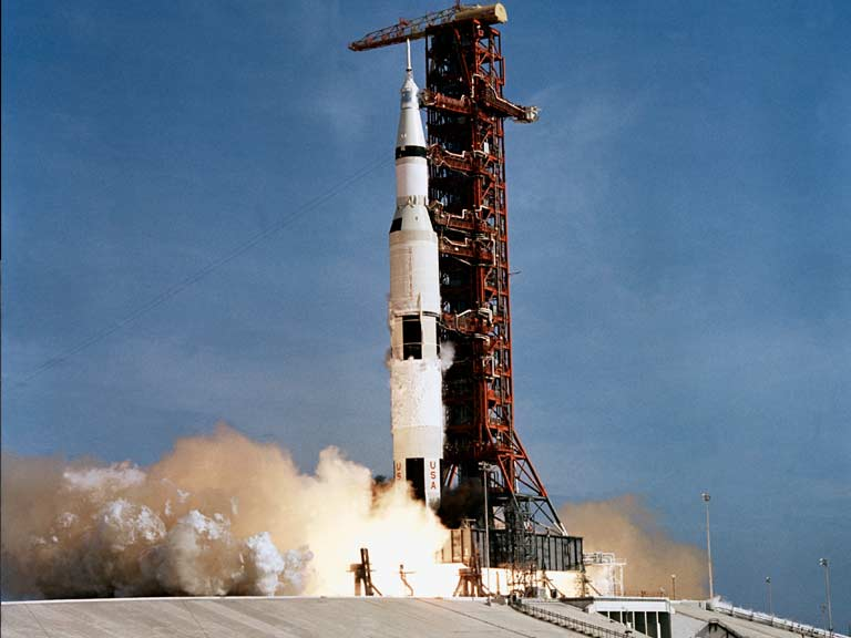 Apollo 11 is launched from Pad A, Launch Complex 39, Kennedy Space Center, on July 16, 1969