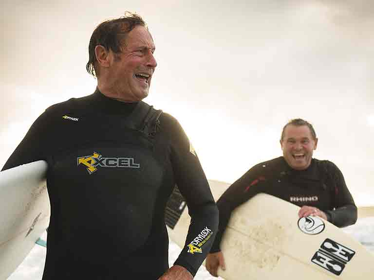 John Owen and Rob Hendy have been surfing in Cornwall since the 1960s.  Photo by James Ram.