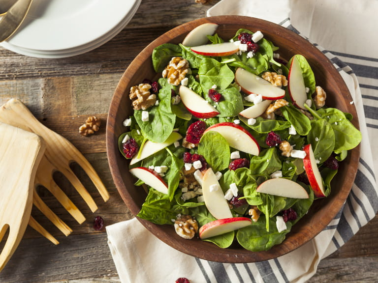 Fruit and nuts in a filling salad