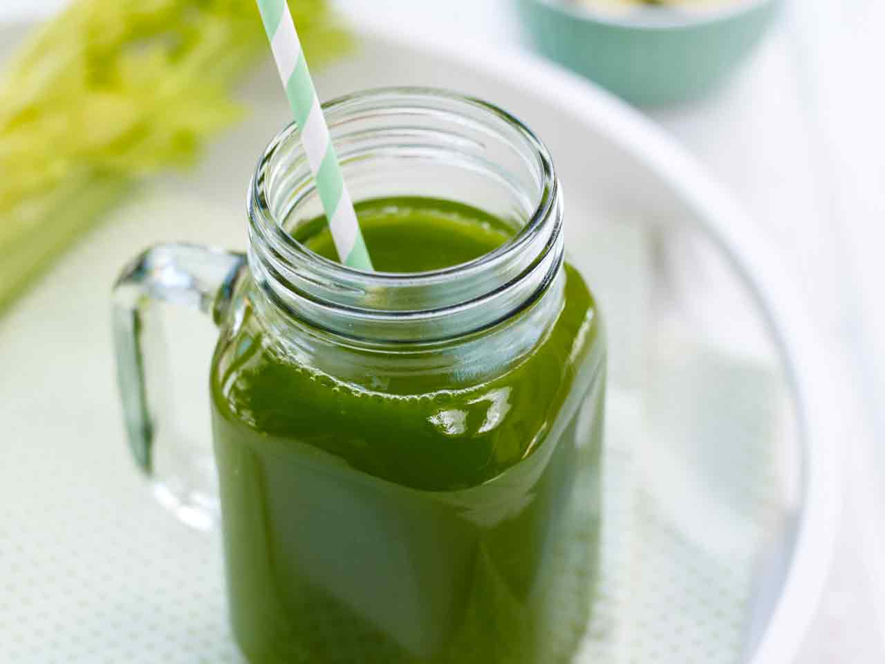 Spinach, celery and cucumber juice