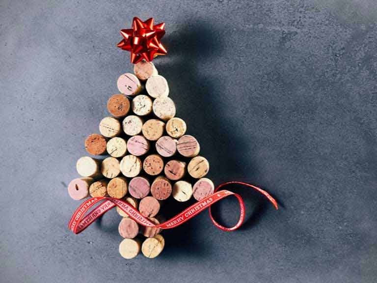Christmas tree shape created from wine bottle corks