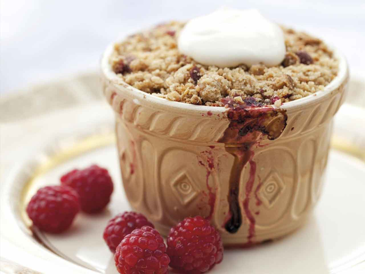 Annabel Langbein's rhubarb and berry crumble