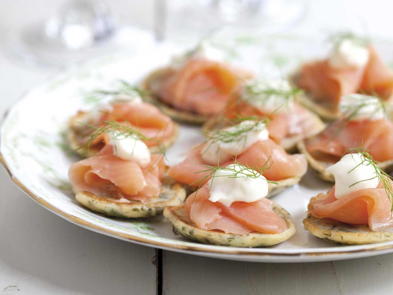 Annabel Langbein's herb fritters with smoked salmon