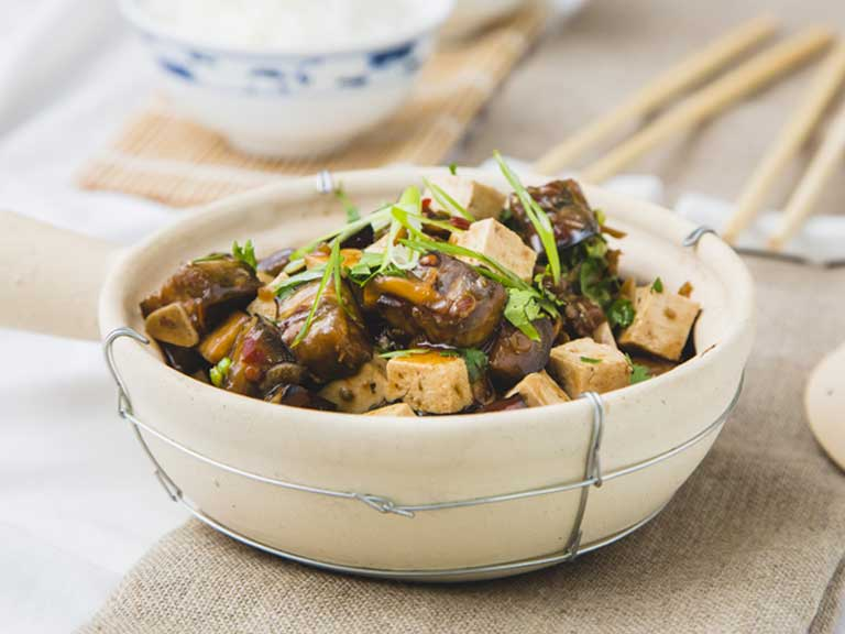 Chinese braised aubergine and tofu