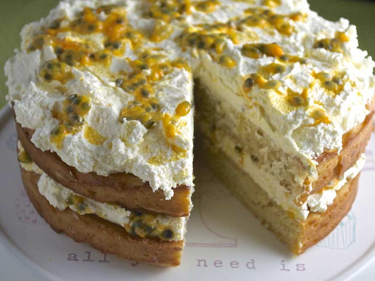 Mango and passion fruit cake