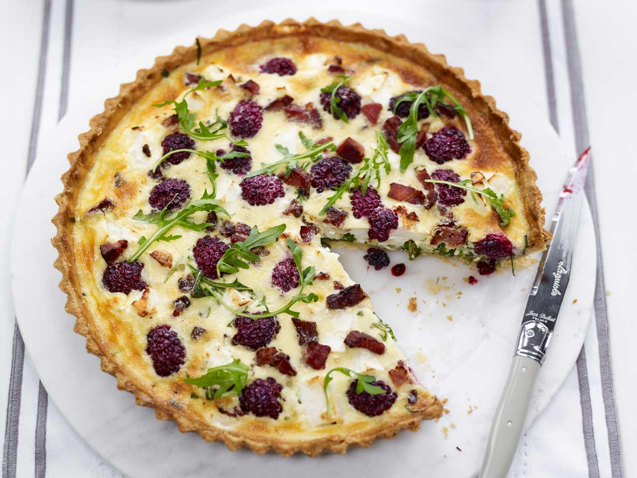 Blackberry, goats cheese and bacon quiche