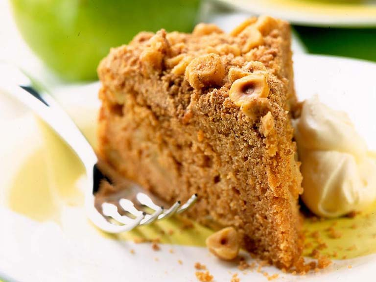 Bramley apple cake with crunchy topping