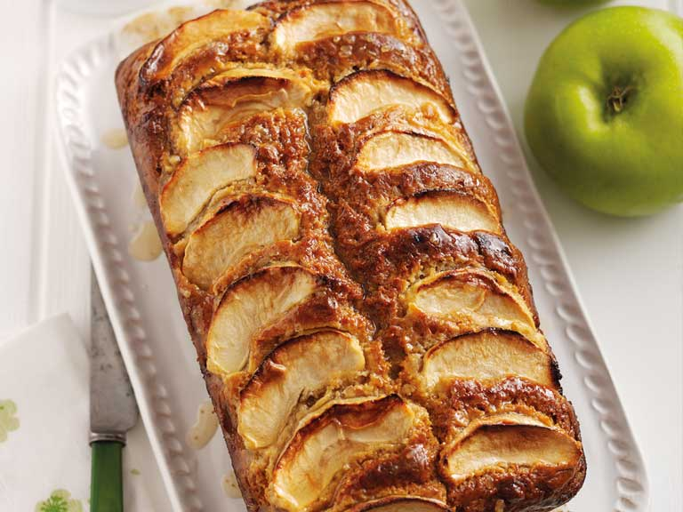 Bramley apple topped honey and whisky cake