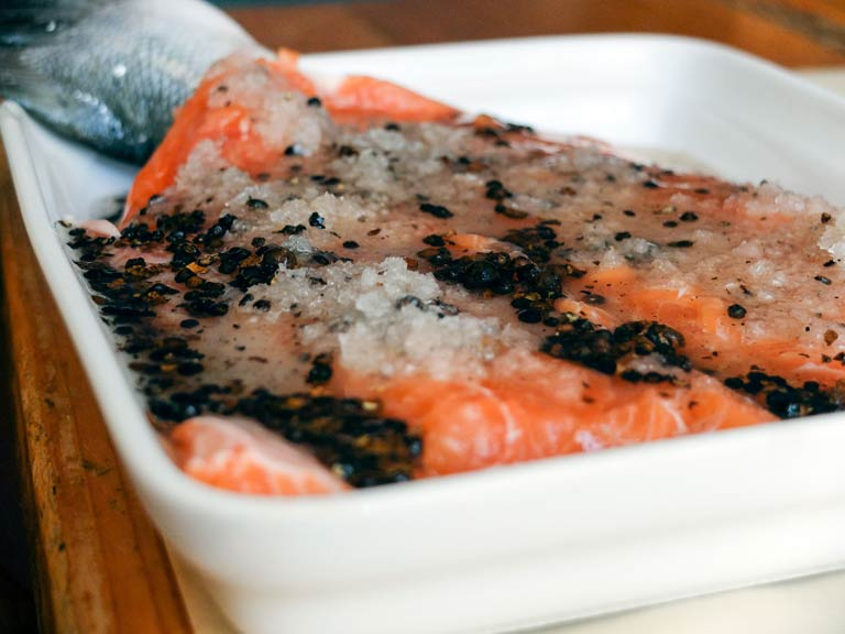 Curing the salmon