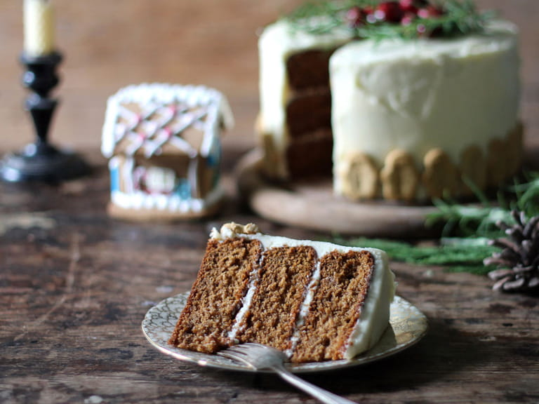 Gingerbread layer cake with salted honey buttercream