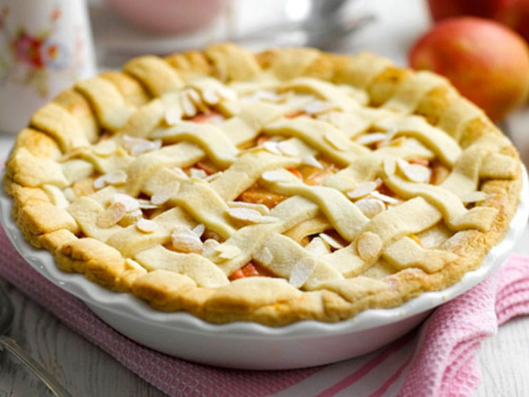 Pink Lady apple, elderflower and almond pie