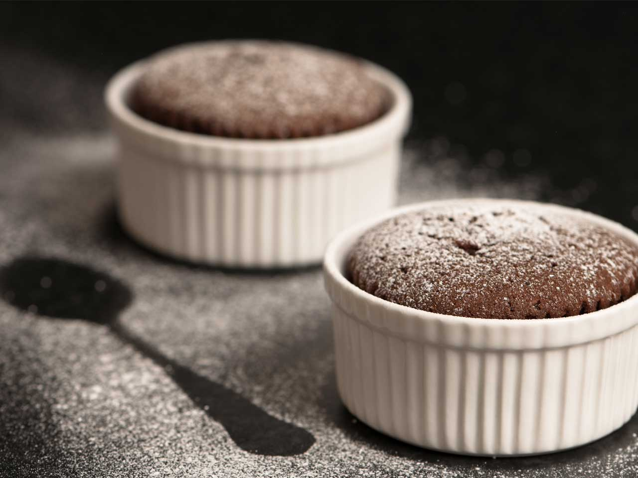 Chocolate molten pots with Baileys ice cream