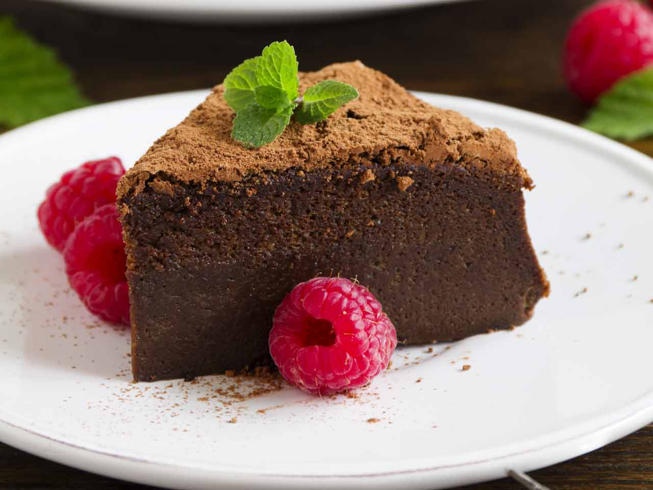 Gluten-free chocolate and raspberry torte
