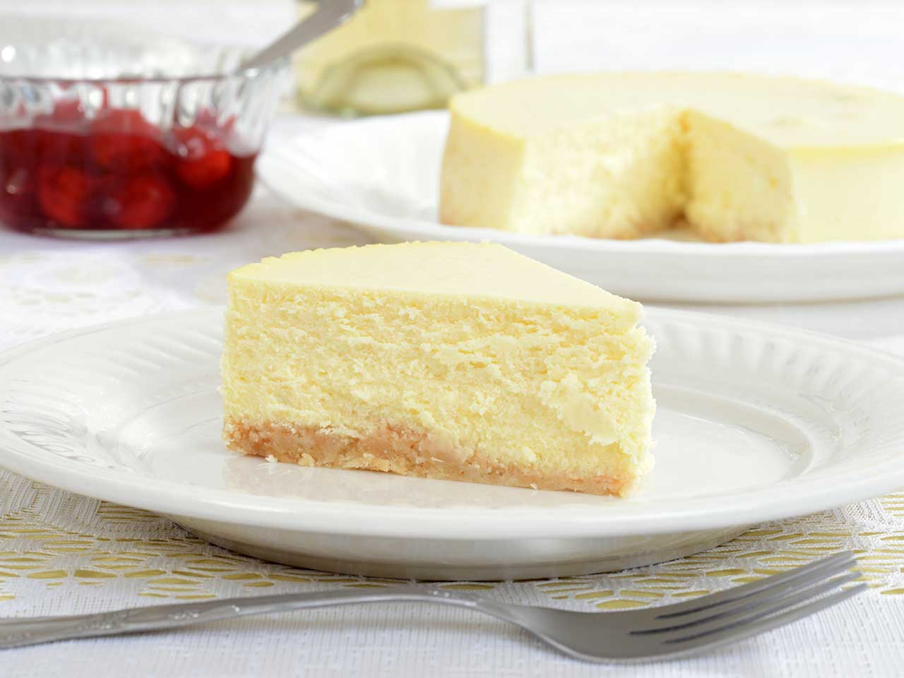A slice of New York style cheesecake