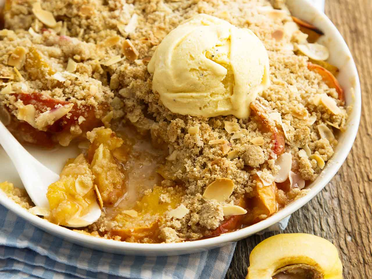 Raspberry, peach and almond crumble